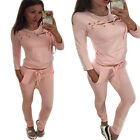 Fashion Tracksuit Women Ladies 2pcs Bandage Tops + Pants Set Sweatshirt Pullover