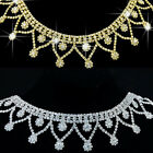 1X Clear Crystal Rhinestone Trim Chain Tassels Costume Wedding Sewing Applique