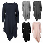 Womens Ladies Long Sleeves Bodycon Asymettrical Midi Plain Dress Onesize Knitted