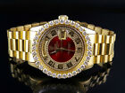 18K Mens Yellow Gold Rolex Presidential Day-Date Arabic 36MM Diamond Watch 6 Ct