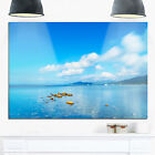 Rocks in a Blue Panoramic Sea Bay - Extra Large Seashore Glossy Metal Wall Art