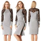 2015 Women Summer Sexy Crochet Sleeve Evening Party Cocktail Mini Lace Dress N4