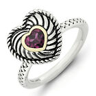 Rhodolite Garnet Antiqued Heart Ring .925 Silver Size 5-10 Stackable Expressions
