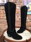 Twiggy London Black Suede Stud Tall Boots