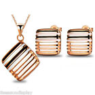 Fashion Jewelry Europe HOT Square Hollowed Drip Ear Stud Pendant Necklace Suit