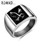 Romad Punk Style Square Shape Eagle Pattern 316L Stainless Steel Man Ring New
