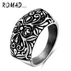 Romad Punk Style Engraving Pattern Stoving Varnish 316L Stainless Steel Man Ring