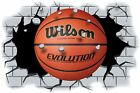 Huge 3D Basket Ball Crashing through wall View Wall Sticker Mural Decal Film 104