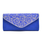 New Women Mini Rhinestones Evening Clutch Handbags in a Floral Pattern Design