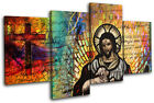 Jesus Christ Abstract Modern Religion MULTI CANVAS WALL ART Picture Print