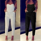 Women Strapless Bandeau Playsuit Bodycon Party Jumpsuit Romper Trousers EW