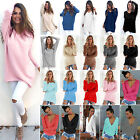 Chic Women Long Sleeve Loose Sweater Pullover Tops Soft Jumper Oversized Outwear