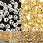 4/6/8/10mm Crafts Round Filigree Spacer Beads Gold/Silver Plated For Handmade