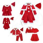 Toddler Girls Baby Christmas Santa Claus Costume Dress with Shawl Hat Outfit Set