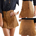 Fashion Womens High Waist Button Suede Leather Short A-line Skirt Dress