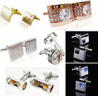 CHI Gold white crystal silver mens cufflinks shirt cuff links wedding party gift