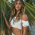 Summer Women Sexy Off Shoulder Sleeve Frill Beach Blouse Crop Tops Shirts DZ88