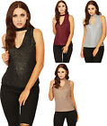 Womens Lurex Choker Neck Party Top Ladies Ribbed Side Slit Dip Hem Sleeveless