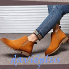 Mens korean style Ankle short chelsea Boots pull on low Heels Suede shoes Vogue