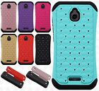 For Alcatel Dawn HYBRID IMPACT Hard Dazzling Diamond Case Cover +Screen Guard