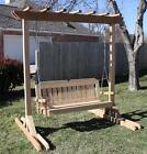 NEW CEDAR GARDEN ARBOR & 4 FOOT PORCH SWING STAND HEAVY DUTY CHAIN & SPRINGS