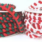 Christmas pom pom decorative trimming 6mm red/white  green/ red sold per metre