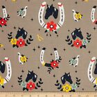 TALL TALES ORGANIC HORSE SHOES SHROOM BIRCH CRAFT QUILT FABRIC Free Oz Post