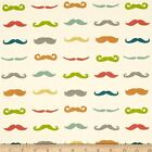 JUST FOR FUN MOUSTACHES BIRCH ORGANIC QUILT SEWING CRAFT FABRIC Free Oz Post