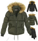New Quilted Padded Puffer Jacket Womens Bubble Fur Parka Coat Size 8 to 16