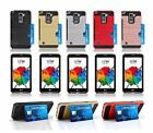 For LG G Stylo 2 Plus / MS550 Brushed Shockproof Tough Case Cover w/ Card Slot