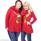Women Merry Christmas Clothes Family Costume Long Sleeve Tops T-Shirt Plus Size