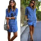 Blue Denim Women Ladies Long Blouse Long Sleeve Loose Casual Shirt Tops Fashion