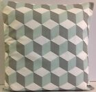 NEW TRENDY SINGLE CUSHION COVERS DUCK EGG BLUE GREY WHITE GEOMETRIC DESIGN