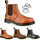 MENS LEATHER SLIP PULL ON CHELSEA DEALER GUSSET ANKLE BLACK WORK BOOTS SIZE VH1