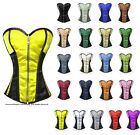 Heavy Duty Steel Boned Waist Training Satin Overbust Burlesque Shaper Corset