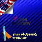 *Satin Chrome Metallic Carbon Fiber Blue Vinyl Wrap Car Sticker Decal DIY Sheet