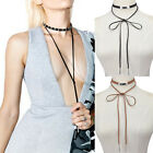 New Women Chic Jewelry Long Necklace Leather Chain Choker With Alloy Pendant