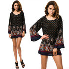 Fashion Women Retro Folk Floral Print Loose Long Horn Sleeve Shirt Tops Dress AU