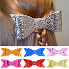 4 inch Hair Bow Baby Girl Boutique Sequin Ribbon Lined Clips Bowknot Headwear