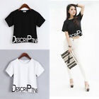 Korean Women Girl Short Sleeve Blouse Crop Loose Tops Letter Crew Neck T-Shirts