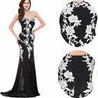 Elegant Long Lace Applique Evening Dress Ball Gown Cocktail Wedding Formal Party