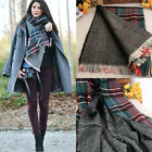 Quality Women Big Soft Warm Thicker Winter Cashmere Tassel Shawl Plaid Cape