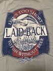 """LAID BACK T SHIRT BILLFISH BEER""""LIFE'S TOO SHORT TO FISH WITHOUT BEER"""" SZ L NWT"""