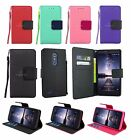 For ZTE Zmax Pro Z981 Leather Wallet Case w/ Tempered Glass Screen Protector