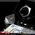 Punk visual Rock eye of horus holy cross titanium steel masonic ring【J1A613】