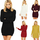 Womens Cable Knitted Jumper Dress Top Ladies Polo Cowl Neck Plain Stretch 8-14