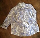 ALFRED DUNNER Blue & White Button Front Blouse Paisley Twilight Silky 12 16