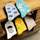 Women Cute Cartoon Footprint Poached Egg Cotton Mid-calf Socks Ankle Socks EW