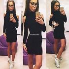 Women Sexy Stretchy Off Shoulder Sweater Jumper Ladies Cocktail Party Mini Dress
