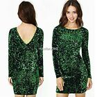 Sexy Women's Long Sleeve Sequins Bodycon Cocktail Evening Mini Party Dress N4U8